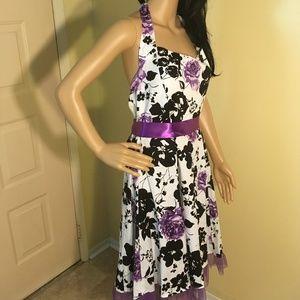 iHot Wht, Blk & Purple Halter dress w/side zip XXL